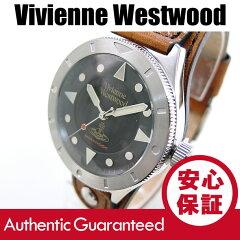 VivienneWestwood(ヴィヴィアン・ウエストウッド)VV160BKBRレザーベルトブラックダイアルビビアンメンズウォッチ腕時計