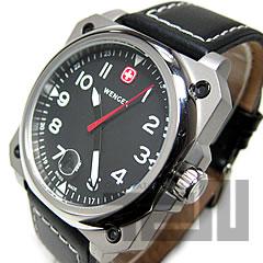 WENGER(ウェンガー)72425AEROGRAPHCockpit/エアログラフコックピットレザーベルトブラックミリタリーメンズウォッチ腕時計