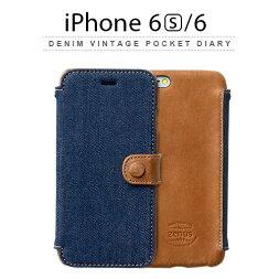 iPhone6S/6手帳ケース手帳型デニムビンテージポケットダイアリーiPhone6siPhone6収納付ケース【レザーケース/カバー】Z4028i6スマホスマートフォンDenimVintagePocketDiarydocomoausoftbank送料無料10PZENUS