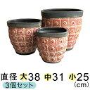模様付 植木鉢 赤黒系 (大中小3個セット)