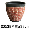 模様付 植木鉢 赤黒系 L 38cm