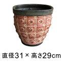 模様付 植木鉢 赤黒系 M 31cm