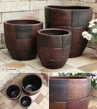 おしゃれ/植木鉢/モザイク柄丸深型黒茶色鉢(大中小3個セット)