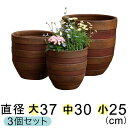 【大中小セットでお買い得】 横じま 丸深型 植木鉢 ツートン 茶色系 〔大中小3個セット〕 【色濃い目の場合もあります】[of20]