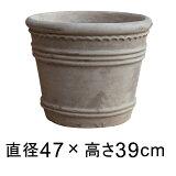 横デコライン 丸リム型 アンティーク 素焼き鉢 テラコッタ鉢 47cm 35リットル ショコラ