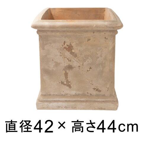 シンプルキューブ型 アンティーク素焼き鉢 テラコッタ 鉢 RV 42cm ショコラ おしゃれ 植木鉢 大型 ...