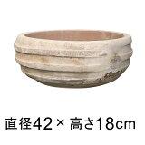 横じまボール 浅型 アンティーク 素焼き鉢 42cm テラコッタ鉢 植木鉢 おしゃれ ショコラ