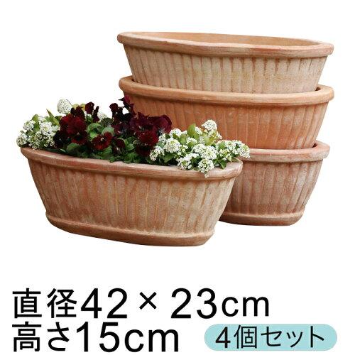 大型 おしゃれ 植木鉢 テラコッタ 鉢 縦縞入りだ円型 素焼き鉢 ...