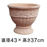 ローズ柄 カップ型 素焼き鉢 テラコッタ 鉢 43cm 21リットル