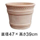 横デコライン 丸リム型 素焼き鉢 テラコッタ鉢 47cm 35リットル