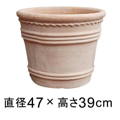 ◆次回入荷は全くの未定◆横デコライン 丸リム型 素焼き鉢 テラコッタ 鉢 49cm 植木鉢 大型 おしゃ...