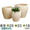 白化粧 縦縞 深型 素焼き鉢 テラコッタ 鉢 大中小3個セット