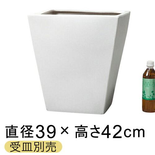 ツルツル10M角型 陶器鉢 白 L 10号鉢に対応 鉢カバー39cm〔受...