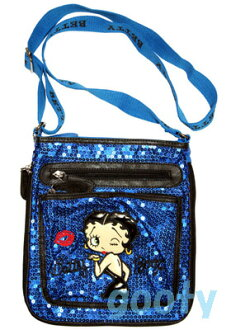 (Betty) Betty Boop BETTY BOOP shoulder bag diagonally over sequined bag Pochette x if skin with skin patch 2-way pilot bag ブルースパン call throwing KISS ♪ pattern