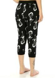 大きいサイズベティー(ベティ)ブープジョガーパンツ黒地総柄薄手クロップドパンツ(7分丈)ジョガーパンツリラックスパンツお部屋着やパジャマにも