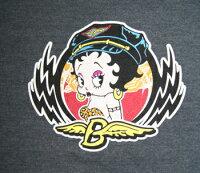 ベティー(ベティ)ブープbettyboop半袖ピタTシャツレディースサイズLサイズバイカーベティー半袖黒ベティーピタT
