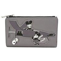 ミッキーマウスミニーマウス飛行機狂プレーン・クレイジーPlaneCrazy合皮パッチワッペン二つ折り財布loungeflyラウンジフライ