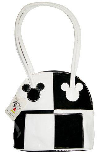 ミッキーツートンエナメルショルダーバッグブラック&ホワイト ツートンエナメルバッグミッキーマウス MICKEY MOUSEお値引いたしました!!