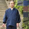 作務衣(さむえ)-袖・裾ゴム式バーバリー織作務衣(紺・茶・黒・グリーン・グレー)(M-LL)〔日本製〕【送料無料】