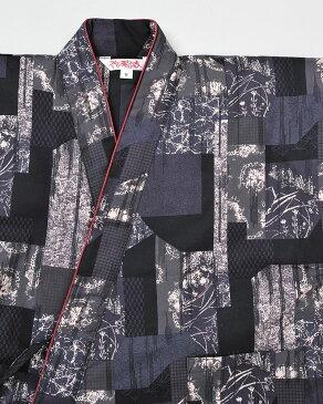 婦人総和柄裏キルトプリント作務衣(紺系・黒系・赤系)(M-L)【作務衣(さむえ)】女性用
