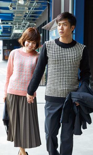 作品♪216aw-14千鳥格子のセーター