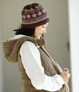作品♪あみこもびよりvol.9-2北欧風編み込み模様の帽子