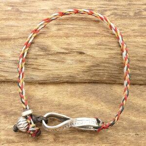 【送料無料】NORTH WORKS(ノース ワークス)d-202-4c25¢ twist chain & beads bracelet(25セント ツイスト チェーン & ビーズ ブレスレット)シルバー,蝋引き紐