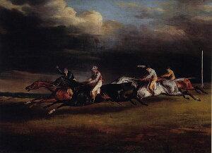 ジェリコー・「エプソムの競馬(ダービー)」プリキャンバス複製画