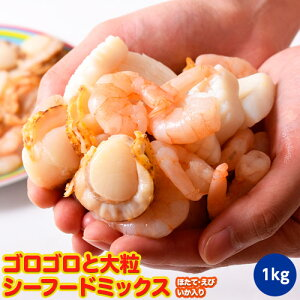 魚介 シーフードミックス さらりとシーフード いか ほたて えび 入り 1キロ 500g×2P 冷凍同梱可能