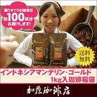インドネシアマンデリン・ゴールド1kg入珈琲福袋(2セットでRM付)(Hマンデ×2)
