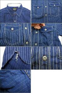 "Eight-G(エイトG)""ウォバッシュストライプ""半袖ワークシャツ2016年モデル当店水洗い&自然乾燥8SS-19−16SS「P」"
