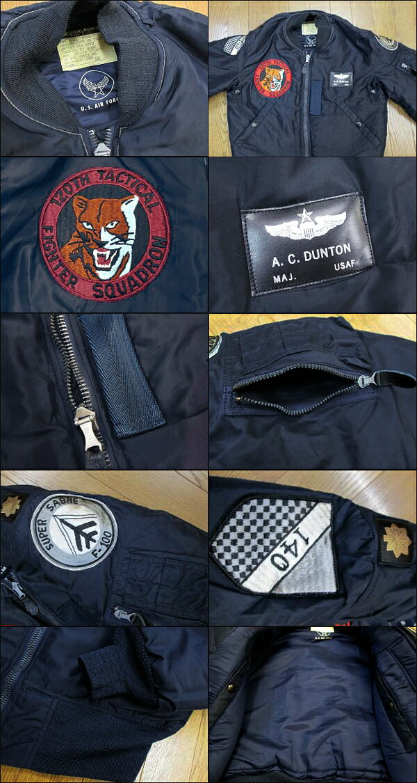 """BUZZ RICKSON'SバズリクソンズB-15C A.F.Blue(Mod.) """"B.RICKSON & SONS.INC.""""120th Tactical Fighter Sq. 140th Tac.Ftr. Wing2014年生産BR13108-14AWフライトジャケット ミリタリー メンズ 男性 新品「NC」"""