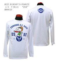 "BUZZRICKSON'SバズリクソンズBUZZRICKSON'S×PEANUTS""USAF""プリント長袖Tシャツ2018年秋モデルBR68123-18AWメンズアメカジ男性長袖Tシャツ"