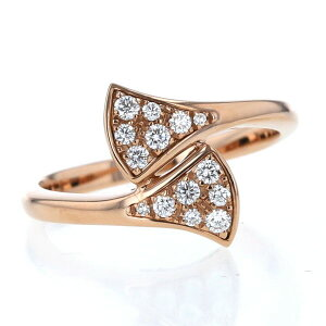 BVLGARI Bvlgari K18PG pink gold ring diamond diva dream diva fan ginkgo ring No. 13 with box [new finished] [af] [used] [free shipping]