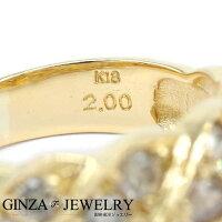 K18YGイエローゴールドダイヤモンド2.00ctツイストデザインリング17.5号【新品仕上済】【cl】【ジュエリー】【人気】【】【送料無料】