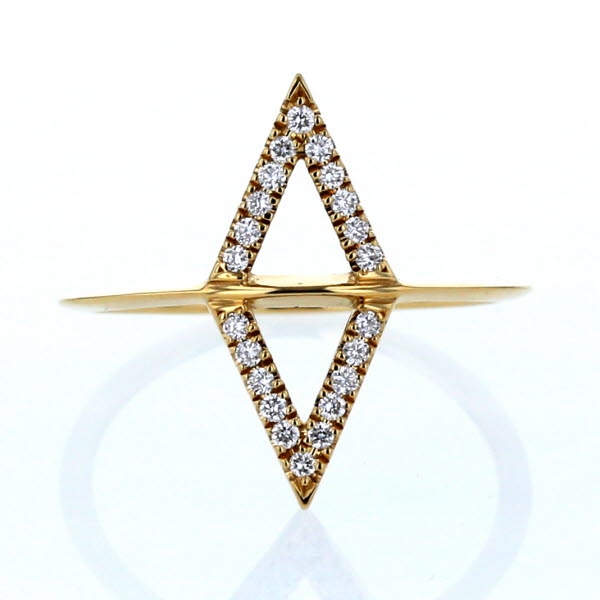 AHKAH アーカー K18YG イエローゴールド リング ダイヤモンド 0.11ct シンバル ひし形 透かし 幅広 シンプル 指輪 9号【新品仕上済】【el】【中古】【送料無料】