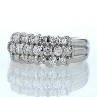 Pt900プラチナリングダイヤモンド0.63ctパヴェセッティングライン三文字デザイン指輪13号【新品仕上済】【af】【中古】【送料無料】