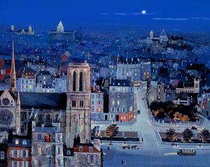 ミッシェル・ドラクロア「青い夜」-La Nuit Bleue-直筆サイン入り限定版画 シルクスクリーン選べる新品額付 国内 送料無料