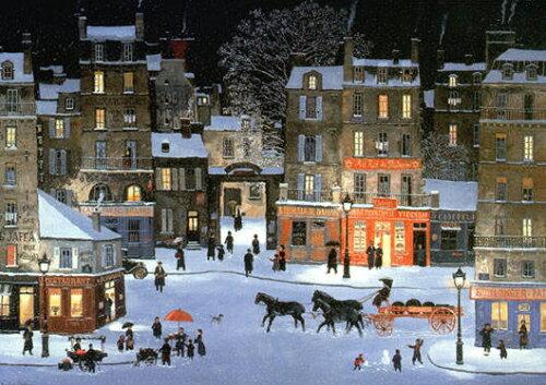 ミッシェル・ドラクロア「Soir de neige, Rue des Rosiers」額付版画作品(シルクスクリーンオン...