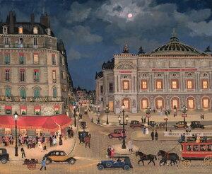 ミッシェル・ドラクロア「Cafe de la paix」額付版画作品(シルクスクリーンオンキャンバス)