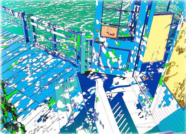 鈴木英人「フィッシャーマンズ テーブル 2001」-FISHERMAN'S TABLE 2001- 2001年 EMグラフ 額付版画作品 国内送料無料