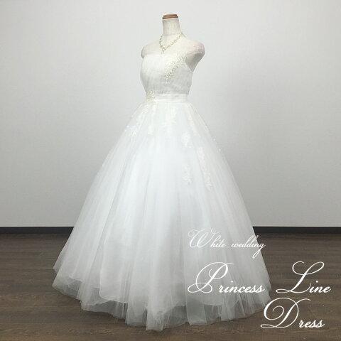 柔らかチュールに透けるレースが上品なウェディングドレス 二次会 白 プリンセスライン5号 7号9号11号13号 結婚式 花嫁ドレス ウエディングドレス 海外挙式 フォトウェディングにお勧めします gcd6190