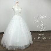 クラシカルなノースリーブのウェディングドレス上質な刺繍が華やかですgcd8873[7号9号]