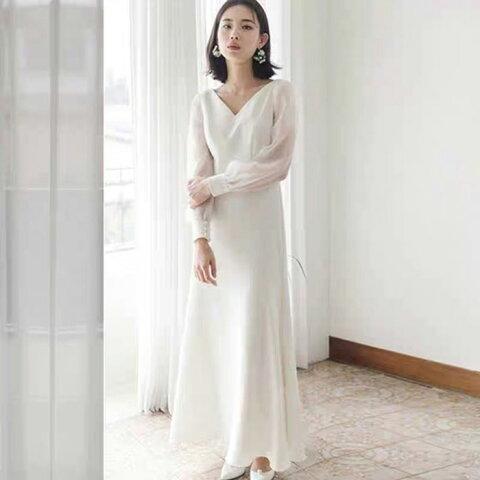 【再再入荷】ウェディングドレス 長袖 二次会 白 袖付きのスレンダードレス ウエディングドレス 花嫁ドレス WeddingDress 5号7号9号11号13号15号 gcd_7003