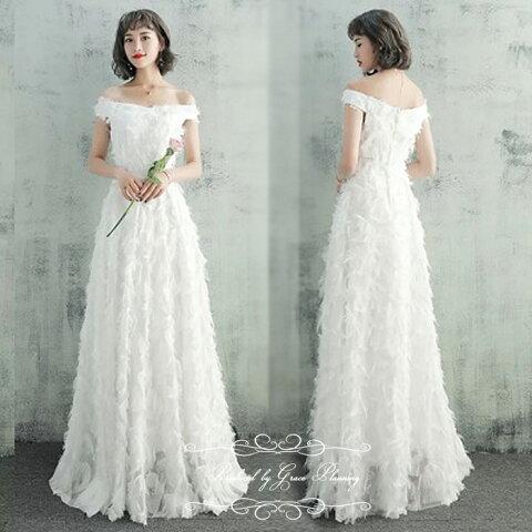 【再入荷】ウェディングドレス 二次会 白 ショール付き ロング 背中ファスナー フェザーモチーフ ウエディングドレス 花嫁ドレス 7号9号11号 gcd_8706