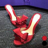 上品で華やかなリボンに視線集中 / ミュール ハイヒール リボン 結婚式シューズ パーティーシューズ レディース 靴 大きいサイズ 痛くない ブラック レッド [zaa44-nc]