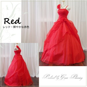 ロングドレスカラードレス演奏会用ドレス/レッド