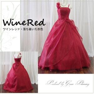 ロングドレスカラードレス演奏会用ドレス/ワインレッド