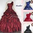 ウエディングドレス カラードレス 演奏会ロングドレス≪全4色・赤・黒・青/5号-7号-9号-11号≫プリンセスライン ワンショルダー背中編み上げでサイズ調整可 二次会やお色直しでウエディングドレスでも◎シックな色合いにフリルが大人可愛い♪(ZCXY509)