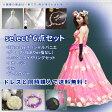 【ドレスと同時購入で送料無料】ドレス小物6点セット福袋≪パニエ・グローブ・コサージュ・ネックレスイヤリング・花冠・ドレスカバー≫これひとつでウェディングドレスもカラードレスもトータルコーディネイト♪(select-6set-t)
